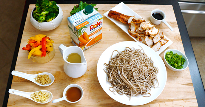 Stir-Fried Vegetables & Roasted Chicken, Ginger Carrot Sauce, & Soba Noodles